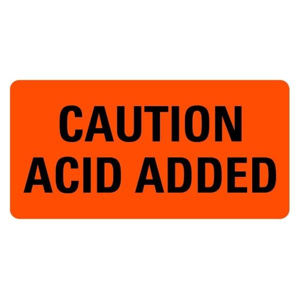 CAUTION ACID ADDED Medical Labels