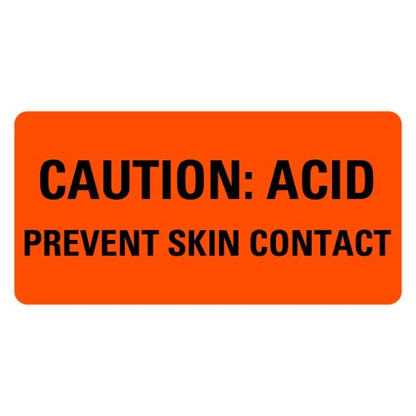 CAUTION ACID Prevent Skin Contact Medical Labels