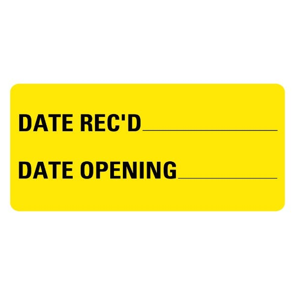 Date Rec'd Date Opening Medical Labels