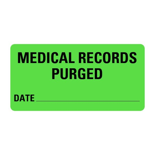 MEDICAL RECORDS PURGED Medical Records Labels