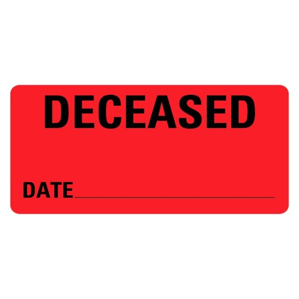 DECEASED DATE Medical Records Labels