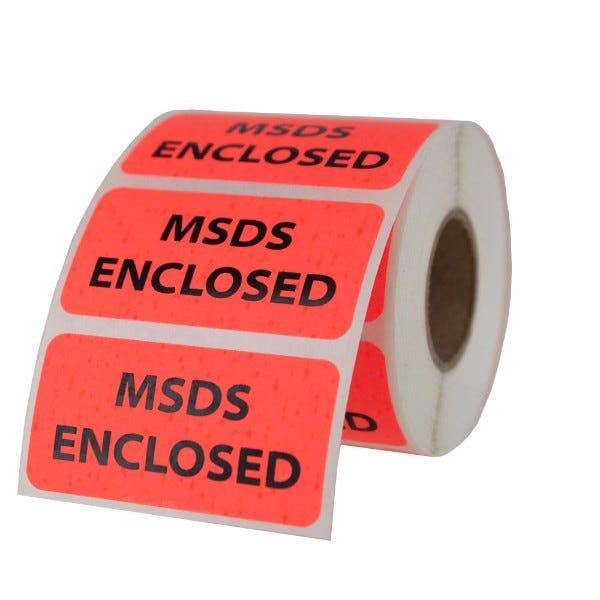 """MSDS Enclosed Labels 2"""" x 1"""""""