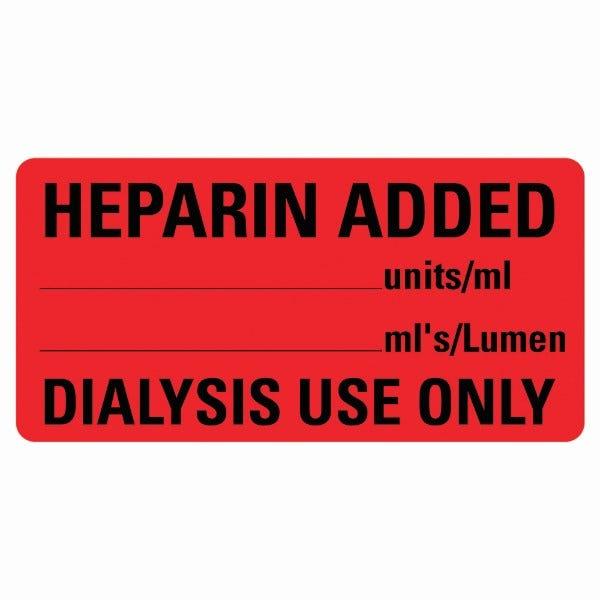 HEPARIN ADDED Medical Labels