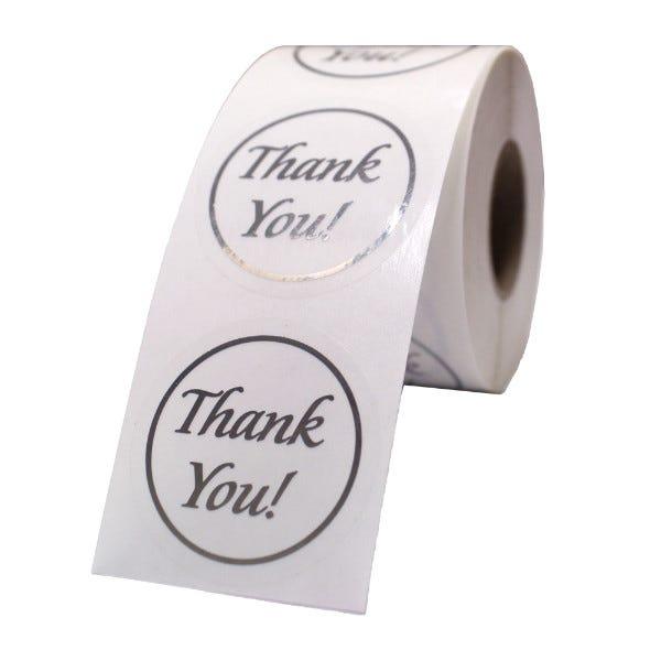 "Thank You Silver Foil Labels 1.5"""