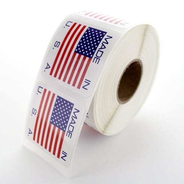 "Made In The USA Labels Printed 1.5"" x 1.5"""