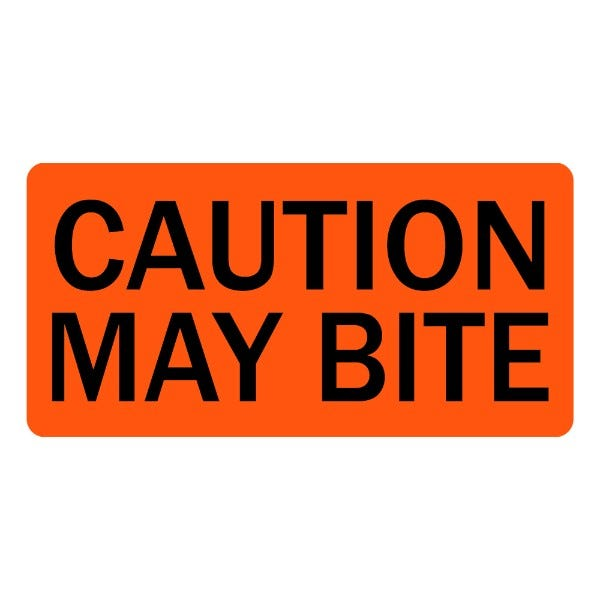 Caution May Bite Veterinary Labels