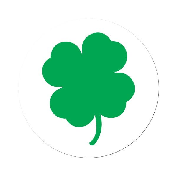 "St. Patrick's Day Green Shamrock Labels 1.5"""