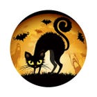 Scary Black Cat Halloween Candy Labels