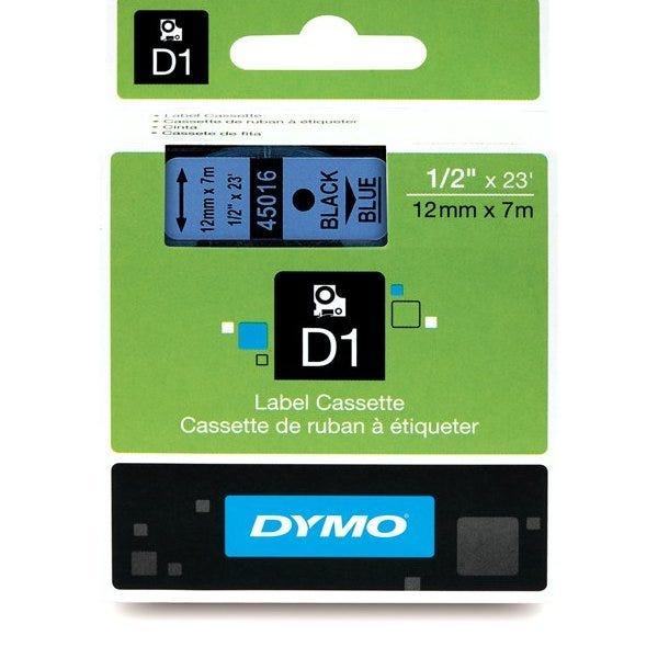 """Dymo 45016 Black on Blue - 1/2"""" Tape"""