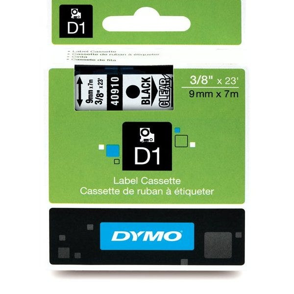"Dymo 40910 Black on Clear - 3/8"" Tape"