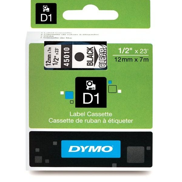"""Dymo 45010 Black on Clear - 1/2"""" Tape"""