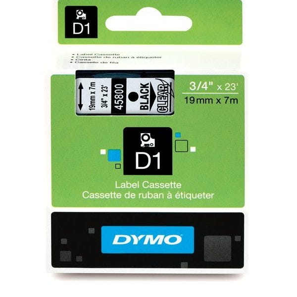 """Dymo 45800 Black on Clear 3/4"""" Tape"""