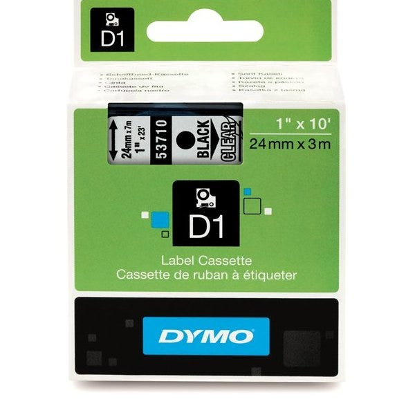 """Dymo 53710 Black on Clear - 1"""" Tape"""