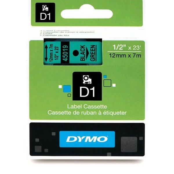 """Dymo 45019 Black on Green - 1/2"""" Tape"""