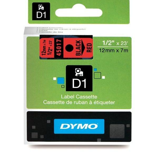 "Dymo 45017 Black on Red - 1/2"" Tape"