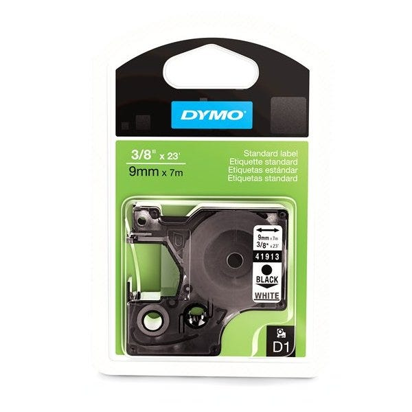 "Dymo 41913 Black on White - 3/8"" Tape"