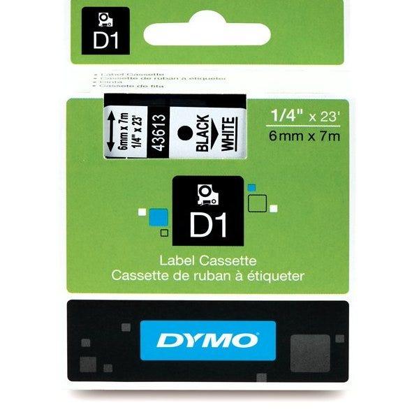 """Dymo 43613 Black on White - 1/4"""" Tape"""