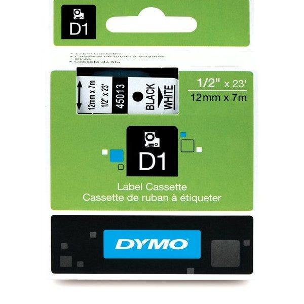 """Dymo 45013 Black on White - 1/2"""" Tape"""