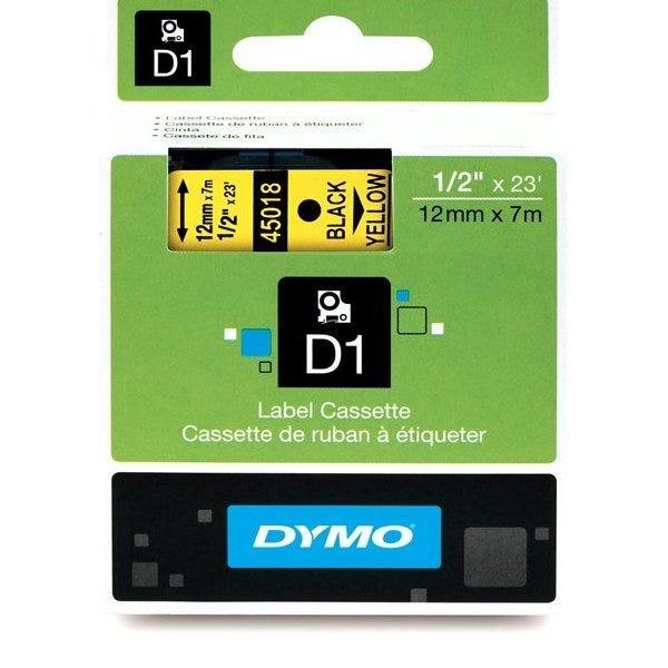 "Dymo 45018 Black on Yellow - 1/2"" Tape"