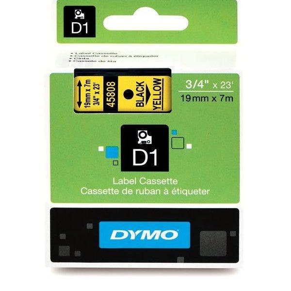 "Dymo 45808 Black on Yellow - 3/4"" Tape"