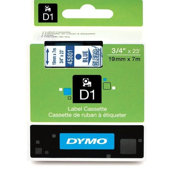 "Dymo 45801 Blue on Clear - 3/4"" Tape"