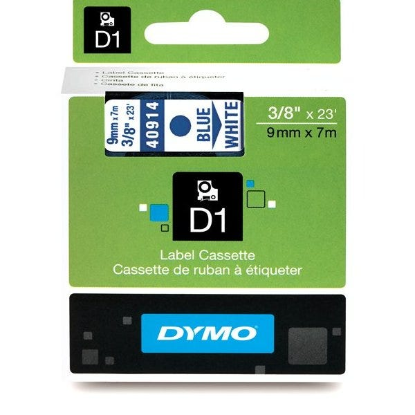 "Dymo 40914 Blue on White - 3/8"" Tape"