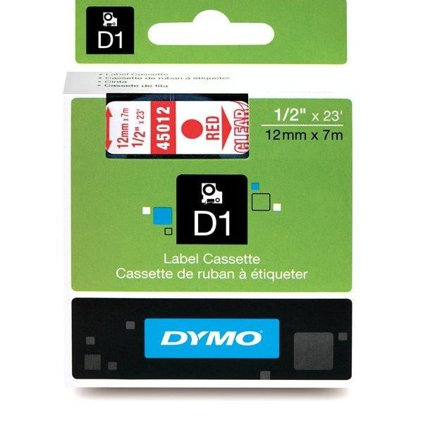"""Dymo 45012 Red on Clear - 1/2"""" Tape"""