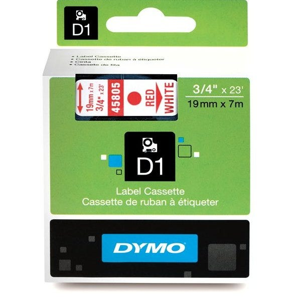 """Dymo 45805 Red on White - 3/4"""" Tape"""