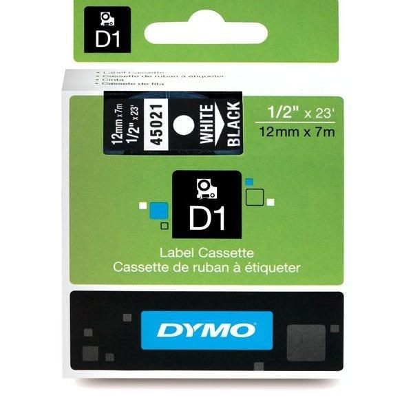"""Dymo 45021 White on Black - 1/2"""" Tape"""