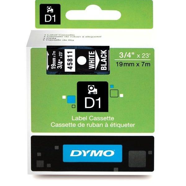 """Dymo 45811 White on Black - 3/4"""" Tape"""
