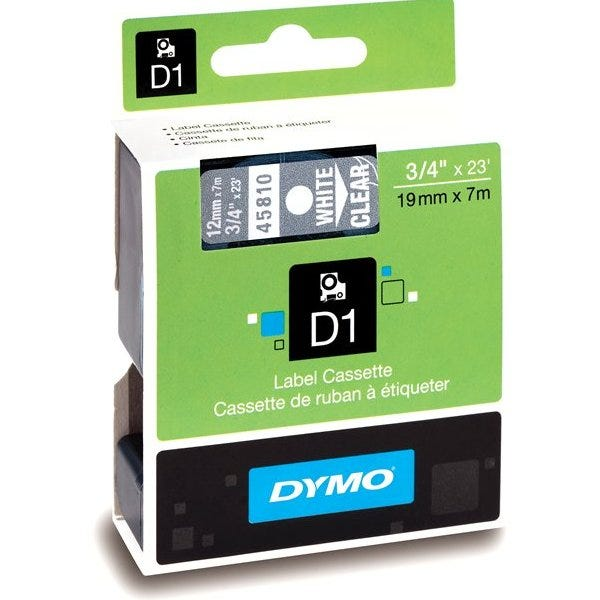 """Dymo 45810 White on Clear - 3/4"""" Tape"""