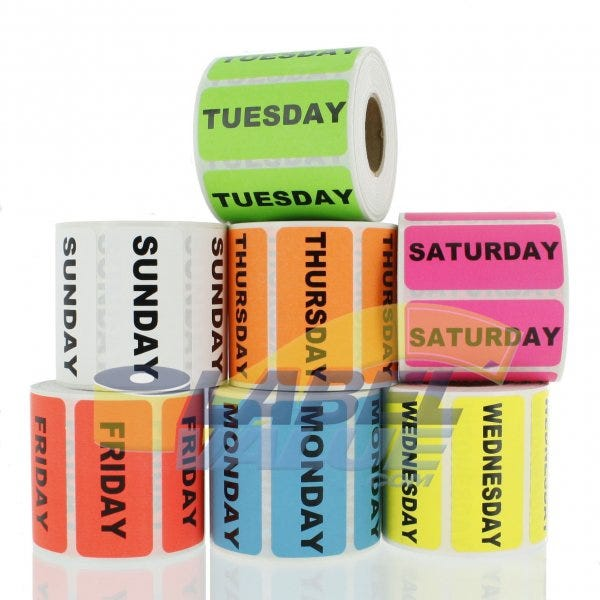 "Days of the Week Inventory Labels 2"" x 1"""