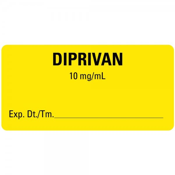DIPRIVAN Expiration Date Medical Healthcare Labels