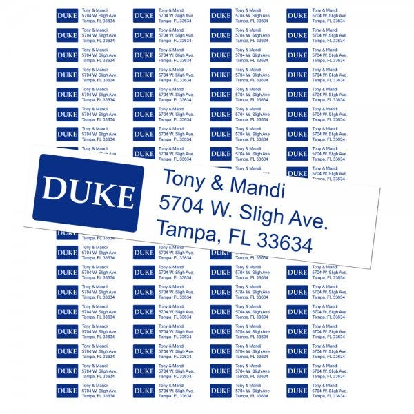Duke University Custom Return Address Labels