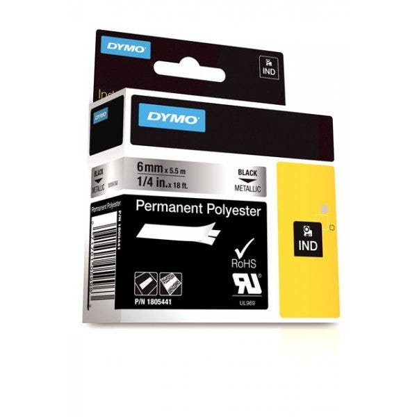 "Rhino 1/4"" Metallic Permanent Polyester Tape (6mm)"