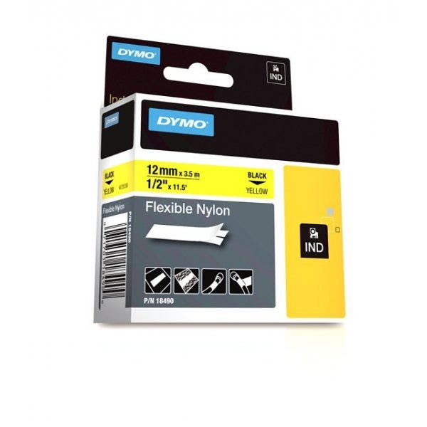 "Yellow Flexible Nylon Tape 1/2"" (12mm)"