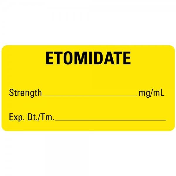 ETOMIDATE Medical Healthcare Labels