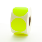 """1.5"""" Round Labels - Fluorescent Yellow"""