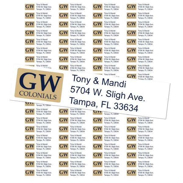 George Washington University Colonials Custom Return Address Labels