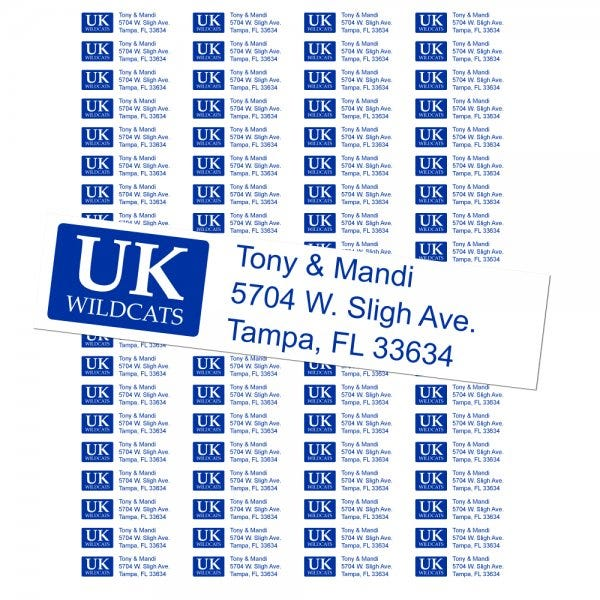 University of Kentucky Wildcats Custom Return Address Labels