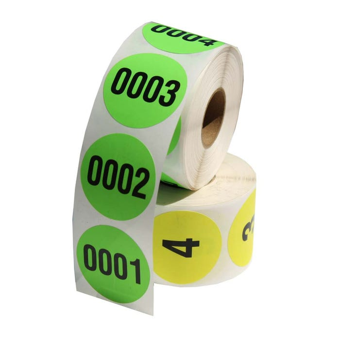 """Custom Color Coded Consecutively Numbered Labels 1.5"""""""