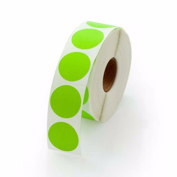 "1"" Round Labels - Fluorescent Green"