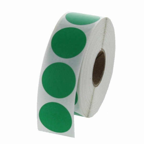 "1"" Round Labels - Green"