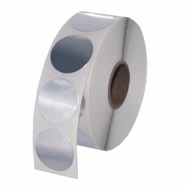 "1"" Round Labels - Silver Foil"