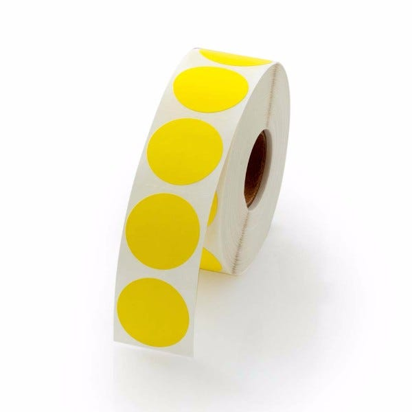 """1"""" Round Labels - Yellow"""