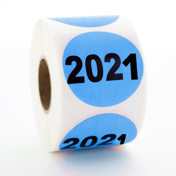 """Year 2021 Labels 1.5"""" Circles"""