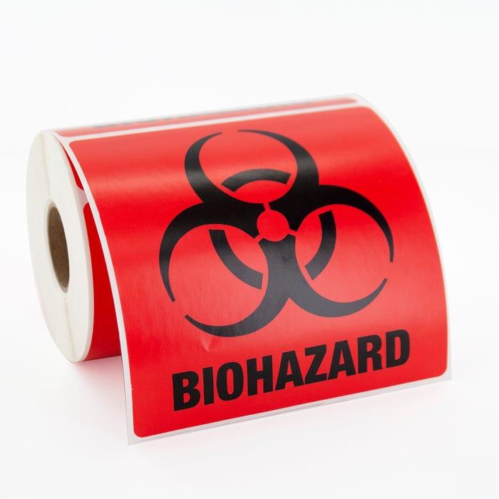 "Biohazard Labels 4"" x 4"" Square"