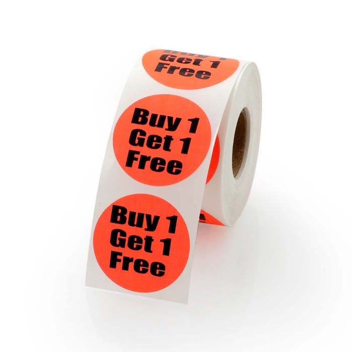 Buy One Get One Free Labels 1.5""