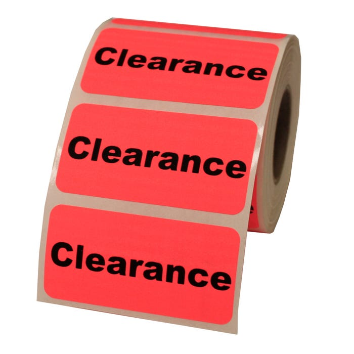 "Clearance Retail Labels 2"" x 1"""
