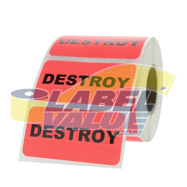 "Destroy Inventory Labels 2"" x 1"""